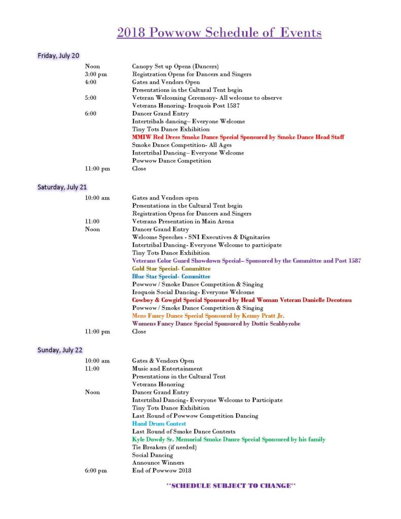2018 schedule of events tentative marvin joe curry veterans pow wow
