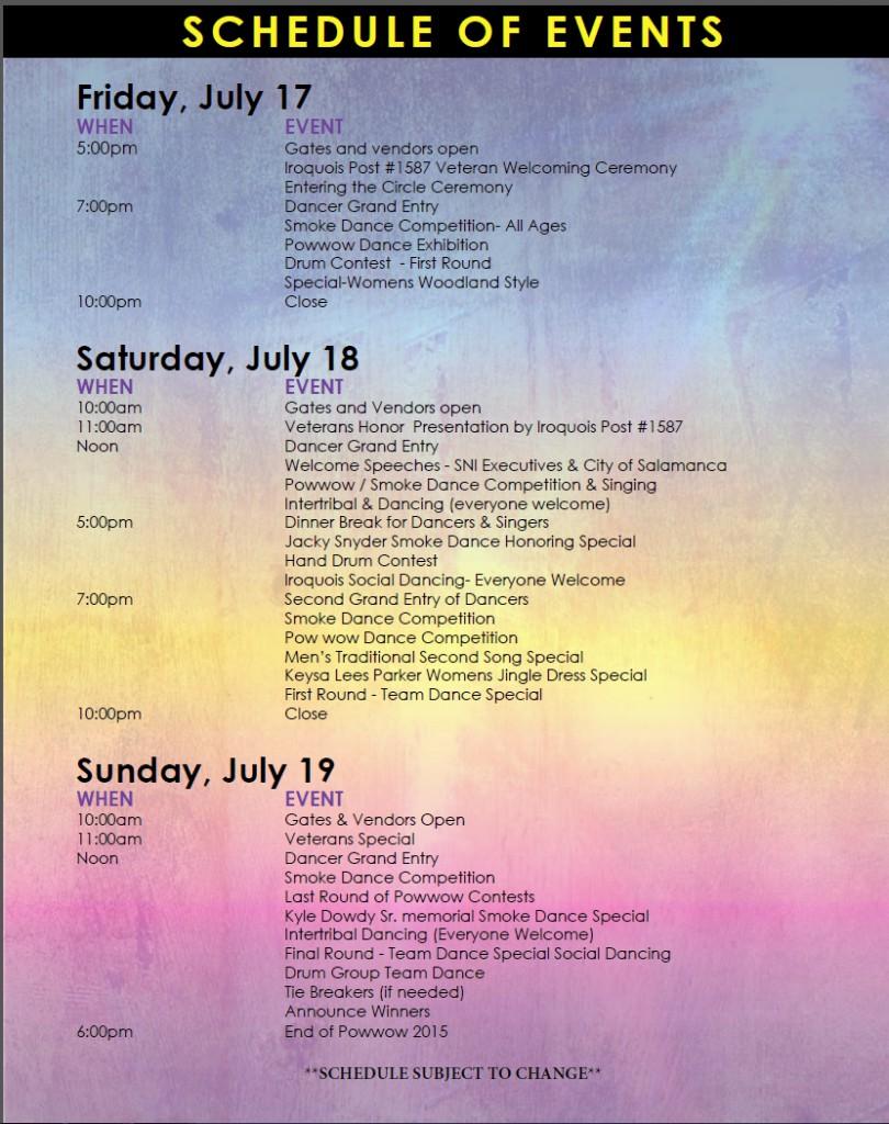 powwow schedule